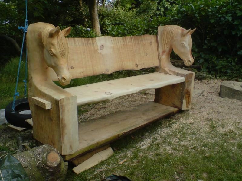 Horse head bench project page chainsaw carving forum