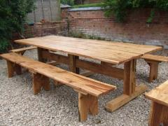 12 foot oak table with benches